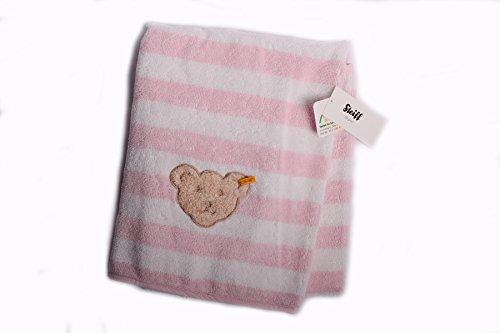 Steiff Baby Badetuch Handtuch 50 x100 cm Frottee rosa-weiß geringelt