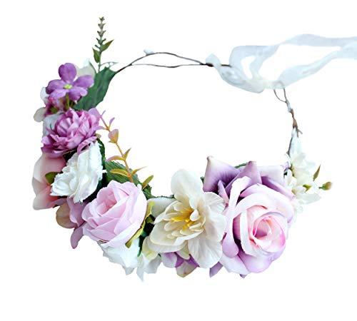 LLinfflr Rose Flower Crown Flower Garland Headband Hair Wreath Floral Halo Headpiece Boho with Ribbon Wedding Party Photos Pink