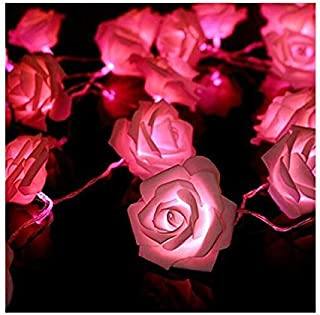 2M 20LED String Lights Bright Warm Rose Flower Lamp Fairy Light Wedding Gardens Party Christmas Decoration - Pink
