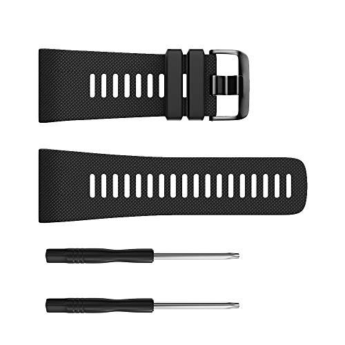 Für Garmin Vivoactive HR Armband, Silikon Gummi Uhrenarmband Sport Armband Edelstahl Verschluss Armband Wechselarmband Replacement Strap Watch Band (Schwarz)