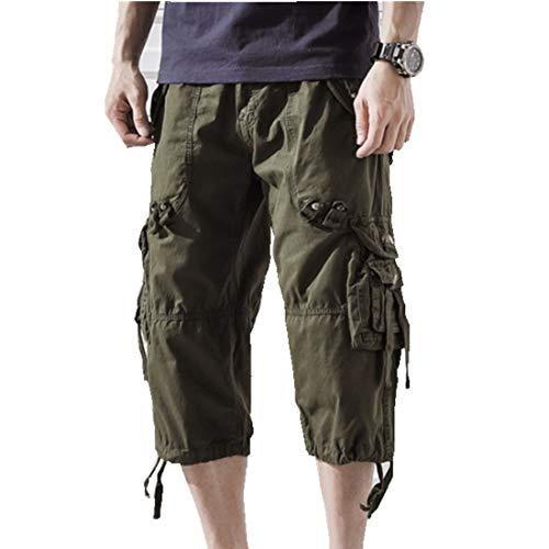 ONLYWOOD - Pantaloncini da Uomo in Cotone Lavato, con Tasche Multiple sotto Il Ginocchio - - 54