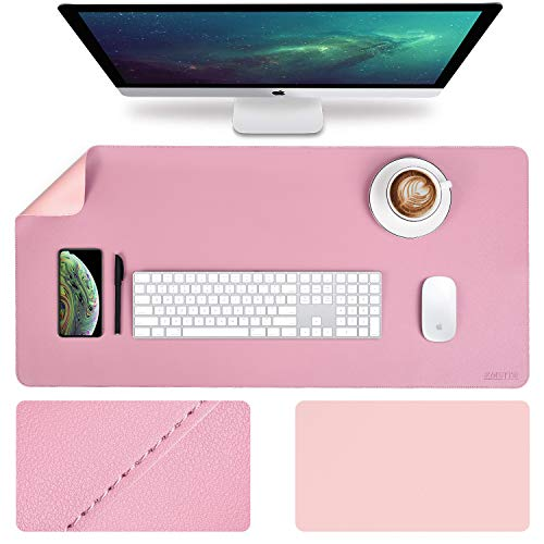EMINTA Large Desk Pad Protector, 2019 Upgrade Sewing Edge 35.4 x 17Inch PU Leather Writing Mat, Gaming Mouse Pad, Waterproof Desk Blotter Pad, Double Sides (Purple/Pink)