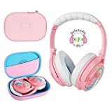 BuddyPhones Cosmos, Active Noise-Cancelling and Volume-Limiting Kids Headphones, 3 Listening Settings, Built-in Microphone, 18-Hour Battery Life, Includes Hard Case for Storage, Unicorn