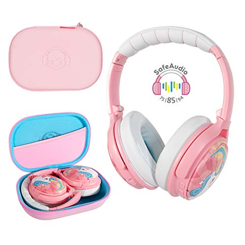 BuddyPhones Cosmos, Active Noise-Cancelling and Volume-Limiting Kids Headphones, 3 Listening Settings, Foldable and Compact,18-Hour Battery Life, Includes Hard Case for Storage, Unicorn