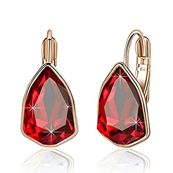 Swarovski Crystal Triangle Leverback Drop Earrings for Women 14K Rose Gold Plated Hypoallergenic Jewelry  Red