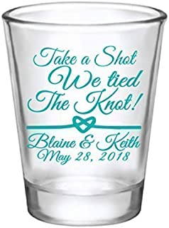 Personalized wedding favor shot glasses, take a shot we tied the knot, customized just for you!