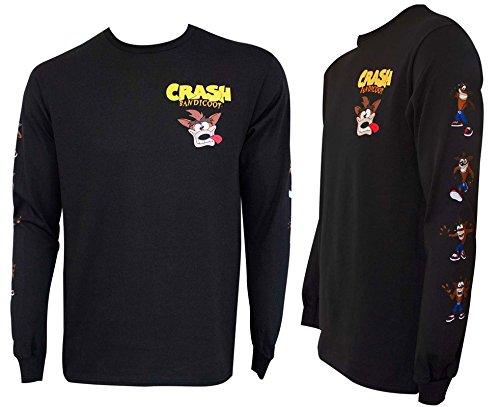 Crash Bandicoot Camiseta de manga comprida, Preto, XXL