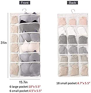 ATHENA CONTI 2 Pack Dual Sided Hanging Closet Organizer with 30 Mesh Storage Pockets Each Space Saving Holder Solution Ideas for Stockings,Socks,Underwear,Bras Organization (Beige)