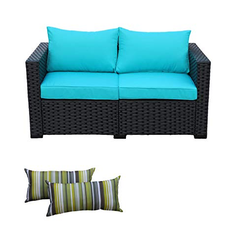 Patio Wicker Furniture Outdoor Garden Love Seat Chair Couch Sofa Black with Turquoise Cushion