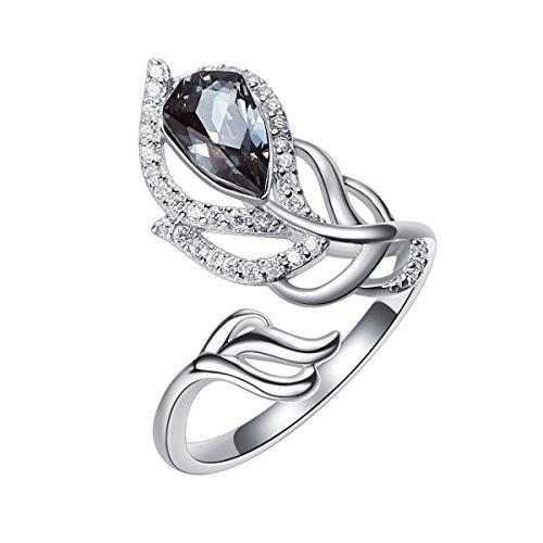 YOURDORA Anillo Ajustable de Plata de Ley 925 para Mujer, Anillo Abierto en Forma de Pluma, Joyas Decoradas con Cristales de Swarovski, Negro 7#