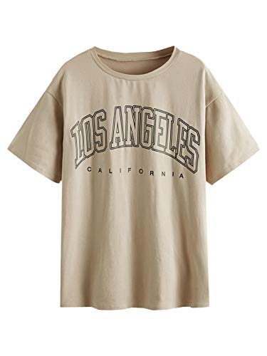 SOLY HUX Women's Casual Letter Print Tee Half Sleeve Loose T Shirt Top Khaki L