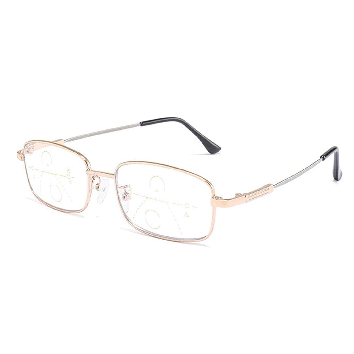 暴行悲劇的なロケーションメタルフレーム老眼鏡、ブルーレイ多焦点老眼、ユニセックスメガネ