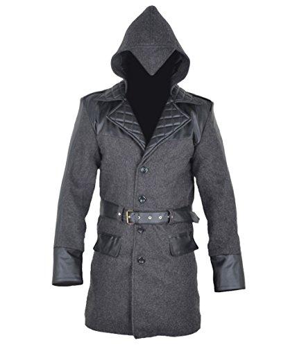 classyak Herren aassassins Qualität Joppe Creed Jacke–Mantel mit Kapuze Gr. Large, Woollen Grey