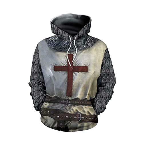 Luminous1128 Herren Ritter Templer Hoodie Sweatshirt Rüstung Kreuzritter Kreuz Mittelalter Cosplay Kostüm Jacke