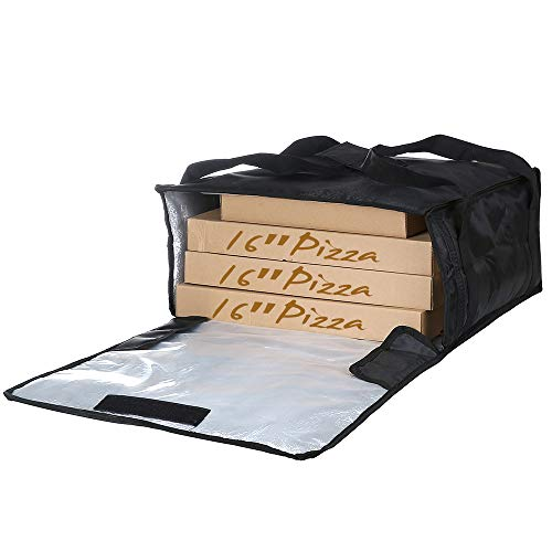"Polyester Insulated Pizza/Food Delivery Bag Professional Pizza Delivery Bag 18""×18""×8"" for Three 16"" Pizza Boxes (Black)"