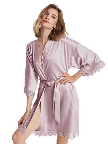 AW BRIDAL Kimono Damen Bademantel Braut Bademantel Damen Kurz für Junggesellenabschied Frauen, Lila Nebel L