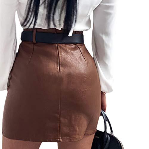 Loalirando Falda Lápiz de Cintura Alta Falda Corta con Abertura y Cinturón Mini Falda de Tubo Sexy y Elegante Clubwear de Mujer para Fiesta Noche Bar Cita (Marrón, M)