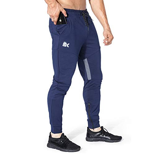 BROKIG Mens Thigh Mesh Gym Jogger Pants, Men's Casual Silm Fit Workout Bodybuilding Sweatpants with Zipper Pockets (Navy,L)