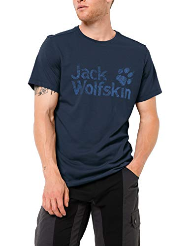 Jack Wolfskin Herren Brand Logo T M Luftiges T-Shirt, Night Blue, XL