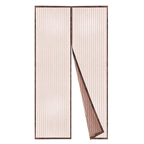 BricoShopping Zanzariera Magnetica a calamita con 18 magneti per balcone e porta finestra fissaggio rapido su finestre e balconi in Legno e Alluminio Senza Mantovana (145x240 cm, Marrone)
