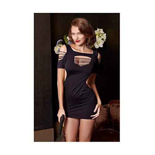 JOYIYUAN Tetona Tentación Pijamas Atractivos Cabestro Revela Vestido Delgado De Fina Ropa Interior Atractiva De Las Mujeres (Color : Negro, Size : Una Talla)