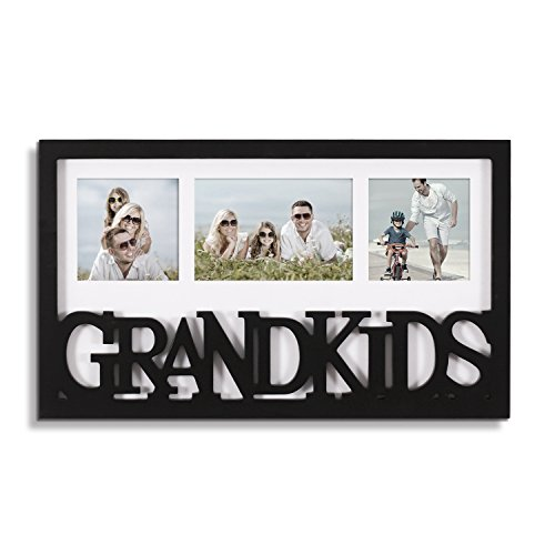 "Adeco Decorative Black White Wood ''Grandkids'' Wall Hanging Artwrok Print Picture Photo Frame, 3 Openings 4x6"" 4x4"" with Mat, Gift for Grandparents"