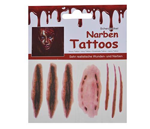 Alsino Halloween Zombie Horror Narben Kratzer Wunde Schnittwunden Blut 3D Tattoos temporäre Tattoo Sticker wasserfest Spezial Fx Kostüm Makeup Aufkleber TT-80048