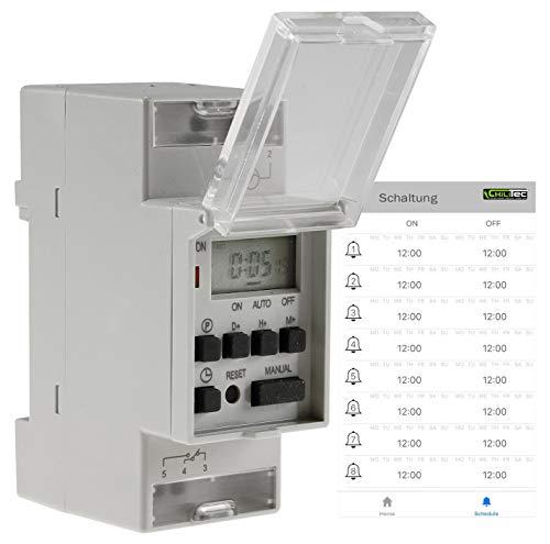 Digitale Zeitschaltuhr für Hutschiene Schalttafel Einstellung per APP Bluetooth 230V / 16A Zeitschalter Timer LC-Display Programmierbar für Woche/Tag