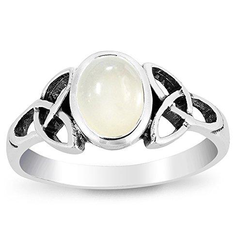 DTPsilver - Damen - Ring 925 Sterling Silber mit Mondstein Keltisch Trinity Knoten Design
