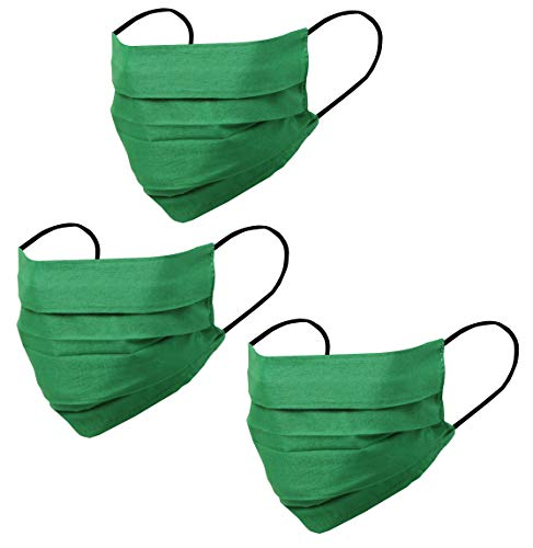 Touchstone soft cotton filter pocket nose bridge double layer face mask Reusable Machine Washable for men, women. (Pack of 3). Green
