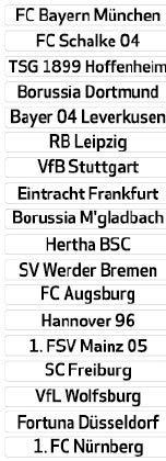 DFL 1. Bundesliga - Tabella Magnetica con Nome del Club (Saison 2018-2019)