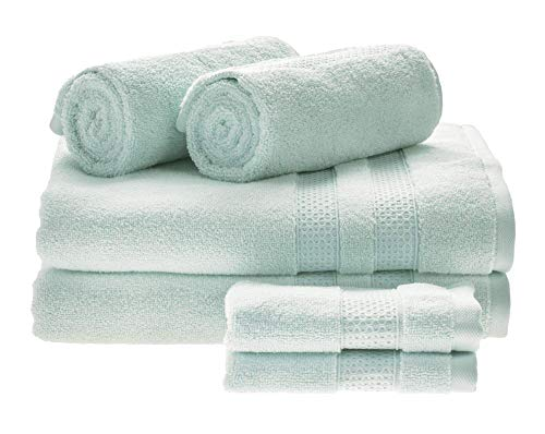 Price comparison product image iDesign Set of 6 Towels for Main or Guest Bathroom,  Soft Bath Towels Set Made of 100 Percent Cotton,  Towel Set with 2 Hand Towels,  2 Bath Towels and 2 Face Cloths,  Spa Blue