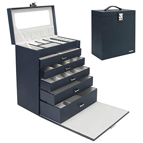 Homde 6 Layers Jewelry Organizer Fully Locking Large Jewelry Box with Necklace Tray Royal Blue UA42