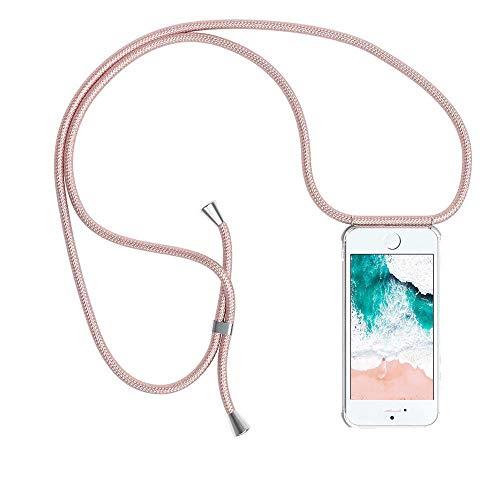 Handykette kompatibel mit iPhone 5/5S/SE, Handyhülle Smartphone Necklace Hülle mit Band Schutzhülle Kordel zum Umhängen Transparent Weich TPU Silikon Tasche, Rosé Gold