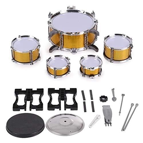 Muziek Speelgoed Kinderen Kids Drum Set Musical Instrument Toy 5 Drums met kleine Cymbal Kruk Drumstokken Muziek Speelgoed Toys aan de Hersenen Ontwikkelen (Color : Yellow, Size : Set)