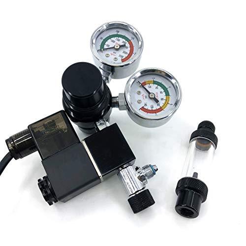 SYLPHID CO2 Aquarium Regulator, Dual Gauge Display with Check Valve CGA320 Thread w/Solenoid 110V for Fish Tank