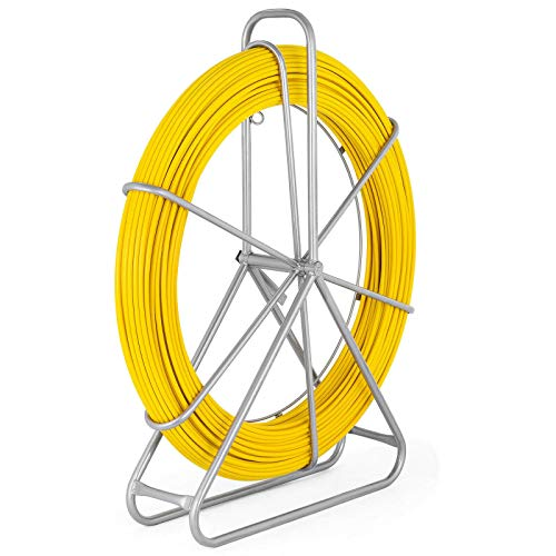 Happybuy Fish Tape Fiberglass 8MM 492FT,Duct Rodder Fish Tape Puller Fiberglass Wire Cable Running with Cage and Wheel Stand,Durable Steel Reel Stand,Fish Tape Min Bending Radius 13 inch/330 mm