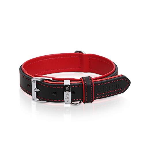 MICHUR Minimo Rot Hundehalsband Leder, Lederhalsband Hund, Halsband, Rot-Schwarz, Leder, in verschiedenen Größen erhältlich