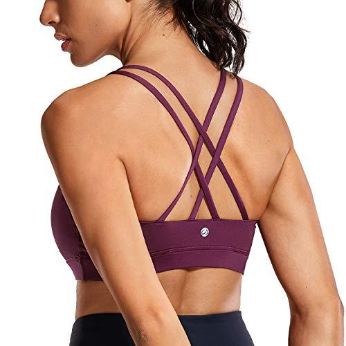 CRZ YOGA Damen Sport Yoga BH -Überkreuzte Träger,Abnehmbare Polsterung dunkel-lila-Logo M