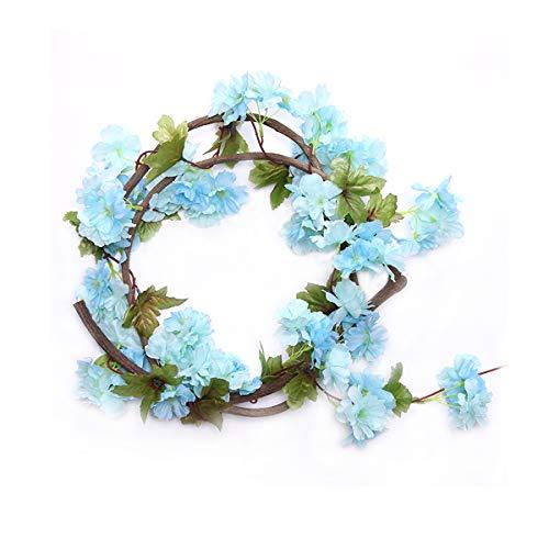 Guirnalda de rosas artificiales, rosas con hojas verdes, 3unidades, 160cm de guirnalda de flores para decoración en bodas en casa., Yh-blue, 2.2 CM