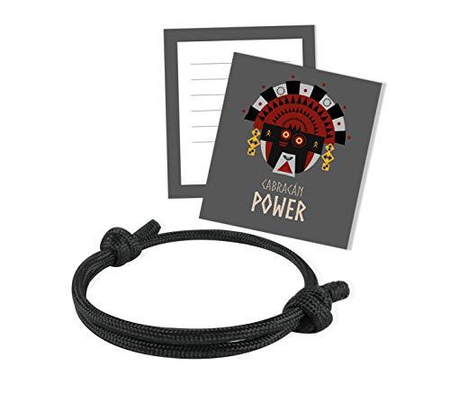 NIMBIM- Power Armband schwarz für Männer und Frauen- Energiearmband - Verstellbar- mit Glückskarte zum beschriften- kleines Geschenk für besten Freund, Bruder- valentine - bracelet black … (Schwarz)