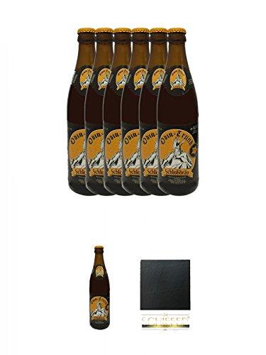 Odin Trunk Honigbier 7 x 0,5 Liter Deutschland + Schiefer Glasuntersetzer eckig ca. 9,5 cm Durchmesser
