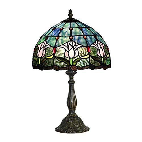 Tiffany Stil Tischlampe,Glasmalerei Tulip Tischleuchte Nachtlicht mit 12-Zoll-breiten Lampenschirm Zink Basis für Schlafzimmer Wohnzimmer Couchtisch