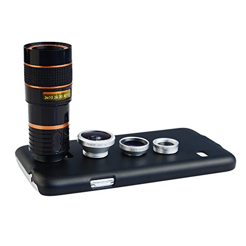 Apexel 4 in 1 Wide Angle Macro + Fisheye + 8X Telephoto Lens with Back Case Cover for Samsung Galaxy S5 Silver