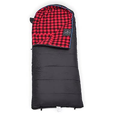 Winter XL Hooded Sleeping Bag with Compression Sack - Perfect for Camping, Backpacking, Hiking. Temperature Range 15-50°F. Fits Adults up to 6'6. Ripstop Waterproof Shell & Cotton Flannel Lining