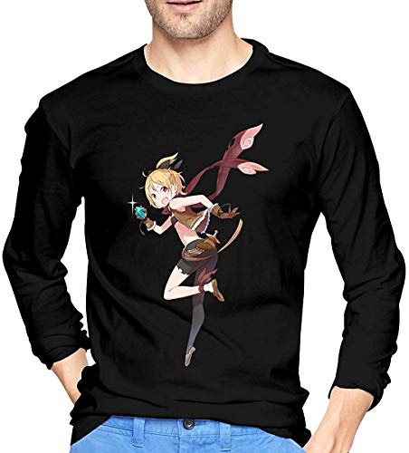 Mens Felt Re Zero Printing Long Sleeve T Shirts Black tee,Black,X-Large|Black