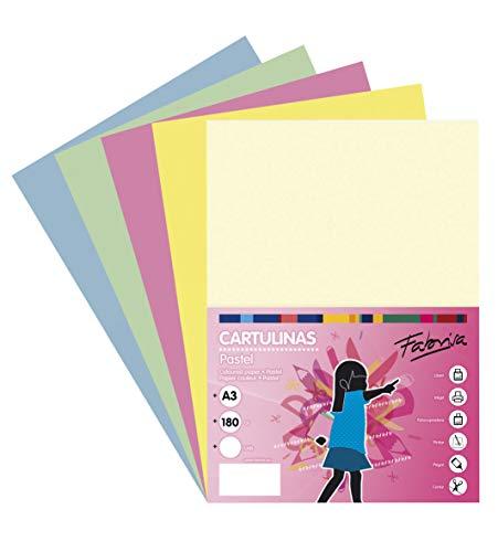 Pack 50 Cartulinas Colores Suaves Tamaño A3 180g