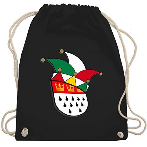 Shirtracer Karneval & Fasching - Köln Wappen Narrenkappe - Unisize - Schwarz - köln wappen - WM110 - Turnbeutel und Stoffbeutel aus Baumwolle