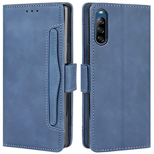 HualuBro Handyhülle für Sony Xperia L4 Hülle Leder, Flip Hülle Cover Stoßfest Klapphülle Handytasche Schutzhülle für Sony Xperia L4 Tasche (Blau)