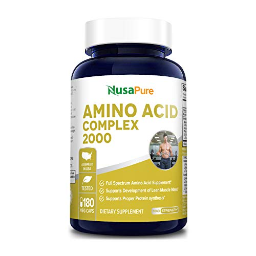 Amino Acid Complex Blend 2000 mg 180 Vegetarian Caps (Non-GMO & Gluten Free) Build Muscle, Improve Recovery and Increase Endurance